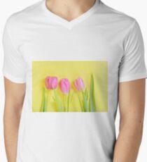 Three pink tulips on yellow T-Shirt