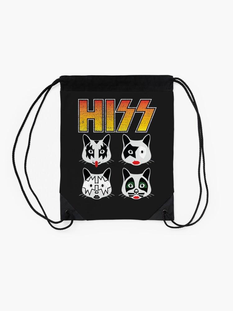 Alternate view of Hiss Kiss - Cats Rock Band Drawstring Bag