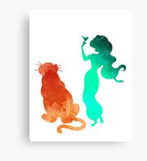 Princess and tiger Inspired Silhouette Canvas Print