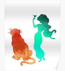 Princess and tiger Inspired Silhouette Poster