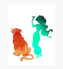Princess and tiger Inspired Silhouette Photographic Print