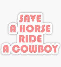 SAVE A HORSE RIDE COWBOY TSHIRT Sticker