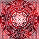 'Scarlet Destiny' Red & White Flower Of Life Boho Mandala Design by ImageMonkey