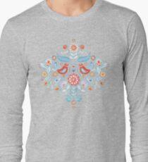 Happy Folk Summer Floral on Light Blue T-Shirt