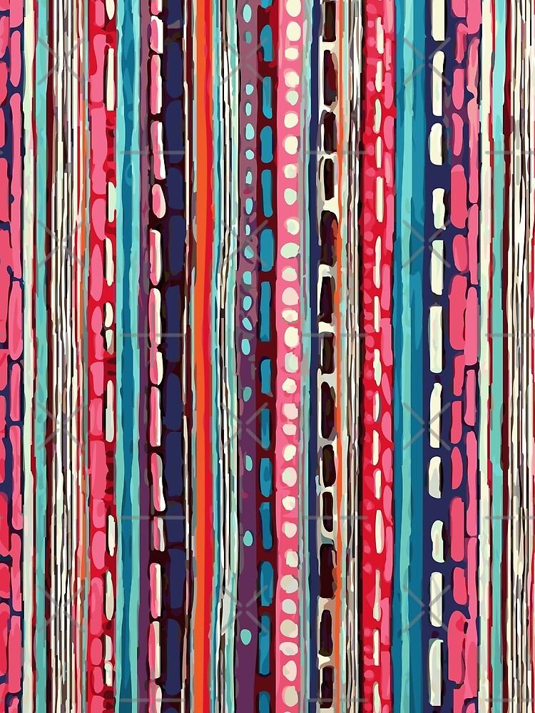 Red Etchnic Scandinavian Vertical Line by MyArt23