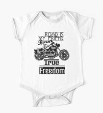 True Freedom - Road is my friend Motorbike - black on white Kids Clothes