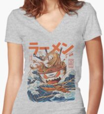 The Great Ramen off Kanagawa Women's Fitted V-Neck T-Shirt