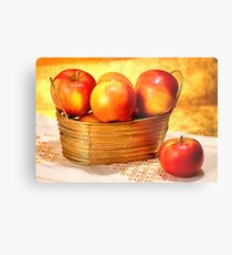 Golden basket with the apples. Ultra-realistic painting Metal Print