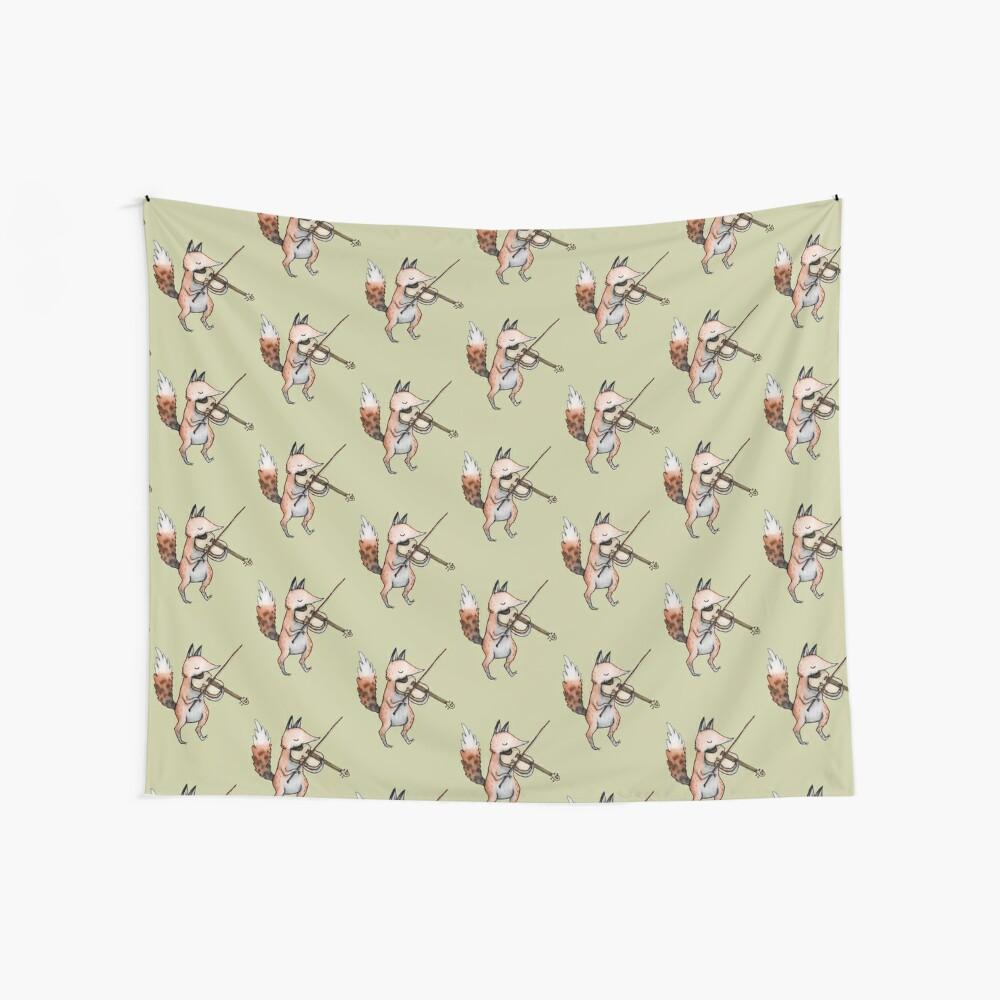 Violin Fox Wall Tapestry