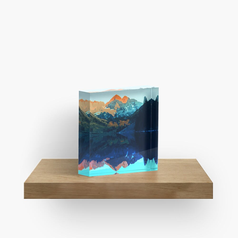 The Wonderful Maroon Bells - Landscapes of USA Acrylic Block