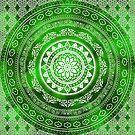 'Emerald Destiny' Green & White Flower Of Life Boho Mandala Design by ImageMonkey