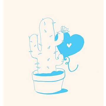 Cactus and Balloon LightBlue by aevy