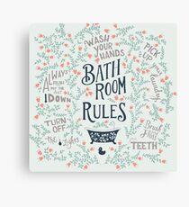 Bon Bathroom Rules 3 Canvas Print