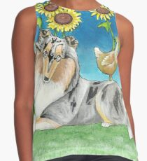 Rough Collie Dog Among the Sunflowers Contrast Tank