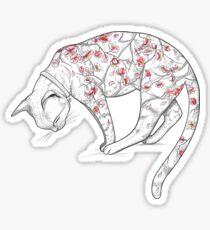 Cat in Sakura Tattoo Sticker