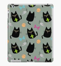 Black cat playing iPad Case/Skin