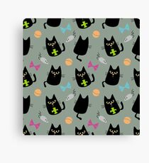 Black cat playing Canvas Print