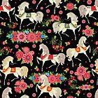 Dancing Horse with Red Rose Flower in Black Background Pattern by MyArt23