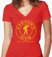 Gaston's Gym - Roughly the Size of a Barge Women's Fitted V-Neck T-Shirt
