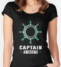 Captain Awesome Tee, Pirate Shirt, Sailing Shirt, Boat Shirt Women's Fitted Scoop T-Shirt
