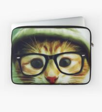 Vintage Cat Wearing Glasses Laptop Sleeve