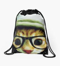 Vintage Cat Wearing Glasses Drawstring Bag