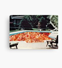 Vintage Pizza Pool Party Collage Canvas Print