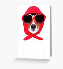 Dog Wearing Heart Red Glasses & Red Veil Greeting Card