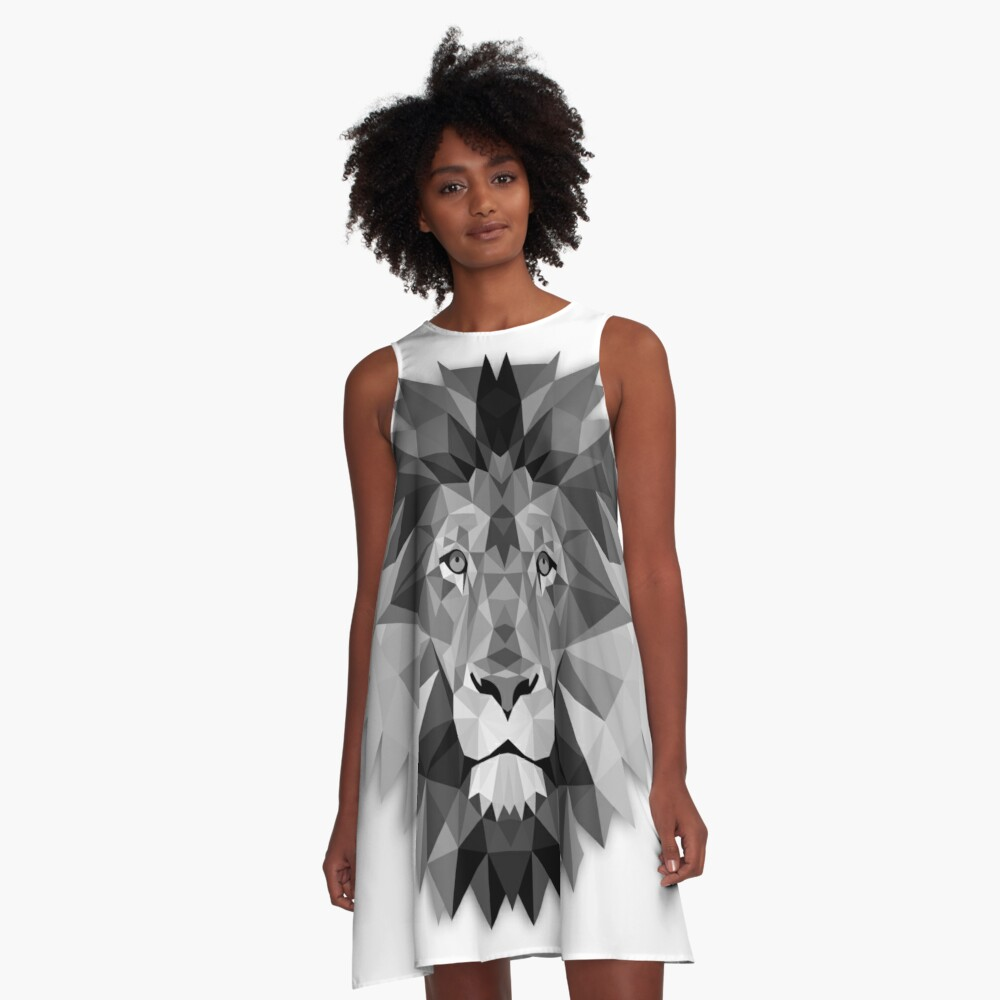 Geometric Monochrome Black and White Lion A-Line Dress Front