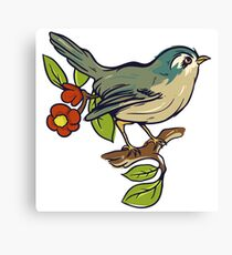 Bird On A Branch With Beige Background Canvas Print