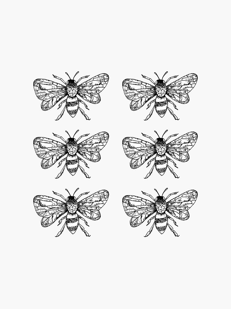 Honey Bee Sticker Pack of 6 by 11BennettTem