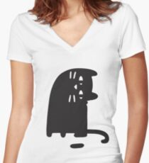 Cat Looking at a Thing Women's Fitted V-Neck T-Shirt