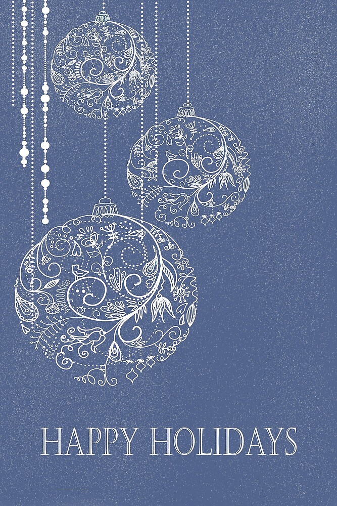 "Filigree Ornaments - ""Happy Holidays"" by Chiwow-Media"