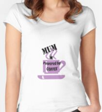 Mum - powered by coffee Women's Fitted Scoop T-Shirt