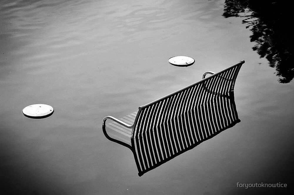 bench in the water bw by foryoutoknowtice