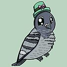 Cute Pigeon With Green Hat by ellycolor