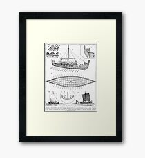 Vintage Viking Naval Ship History and Diagram Framed Print