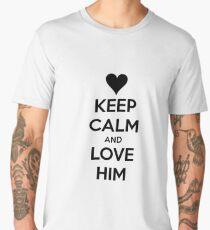 Keep Calm and love him Men's Premium T-Shirt