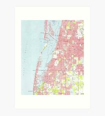 Vintage Map of Clearwater Florida (1974) Art Print