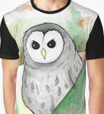 Watercolour Barred Owl Illustration Graphic T-Shirt