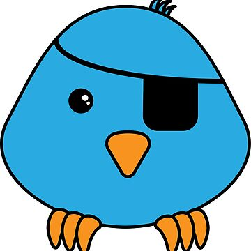 the little blue pirate bird by -maco-
