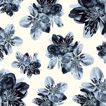 Vintage Blue Floral Pattern by RachelTilley