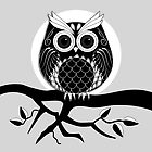 Graphic owl in Black and white by walstraasart