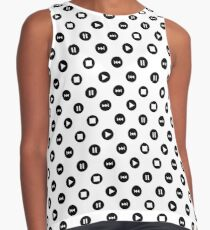 Tiny Music Player Icons Polka Dots (Black on White) Contrast Tank