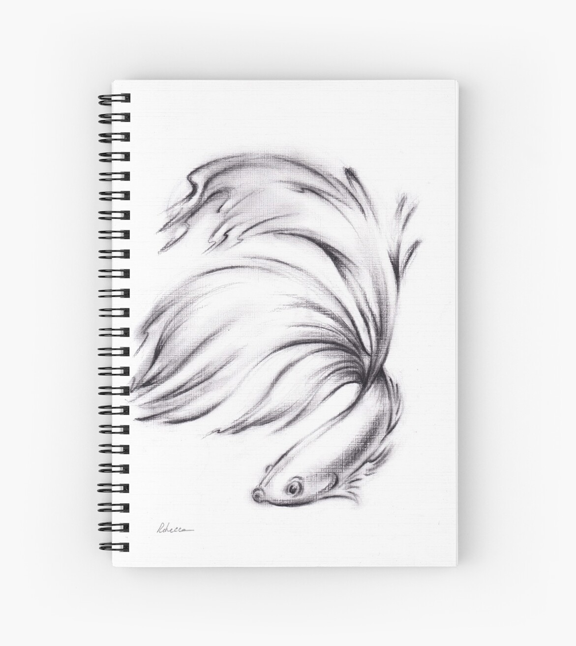 Betta charcoal pencil drawing of a siamese fighting fish spiral notebook by rebecca rees