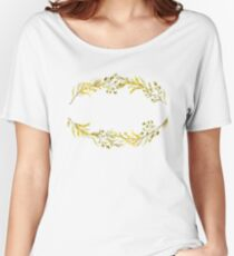 Oval Yellow Wildflower Wreath Women's Relaxed Fit T-Shirt