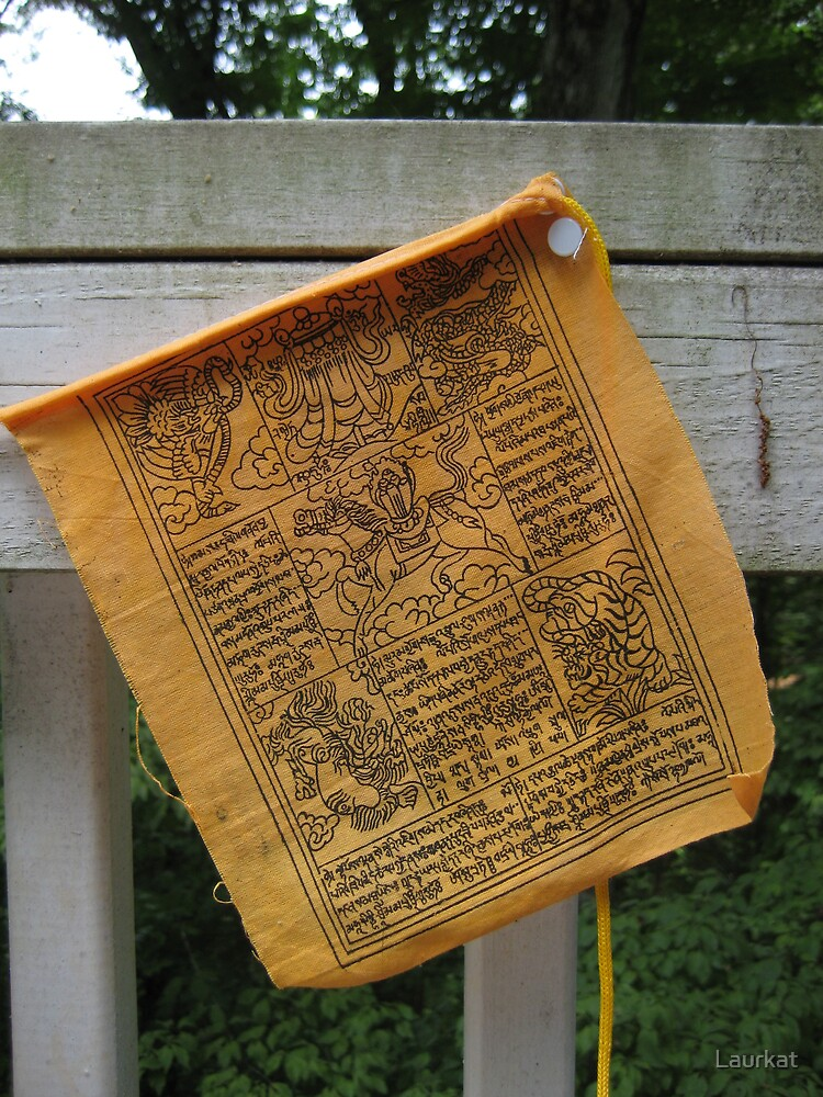 prayer flag and weathered wood by Laurkat