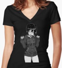 Anime girl Women's Fitted V-Neck T-Shirt