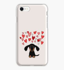 Cute Dachshund Puppy with Valentine Hearts iPhone Case/Skin