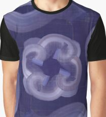 Blue Curve Pattern Graphic T-Shirt